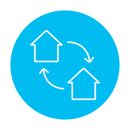 immovable property: House exchange line icon for web, mobile and infographics. Vector white icon on the light blue circle isolated on white background.