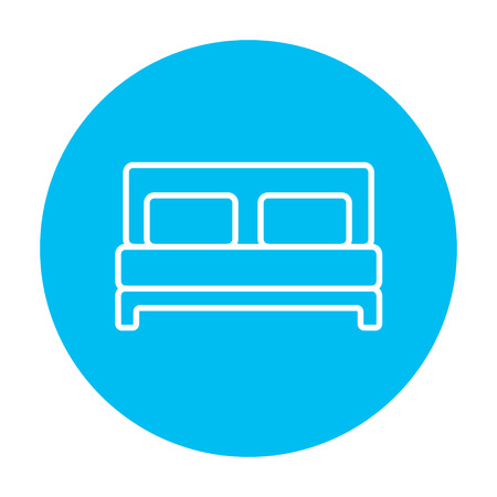 headboard: Double bed line icon for web, mobile and infographics. Vector white icon on the light blue circle isolated on white background. Illustration