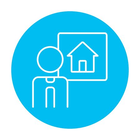 people icon: Real estate agent line icon for web, mobile and infographics. Vector white icon on the light blue circle isolated on white background. Illustration