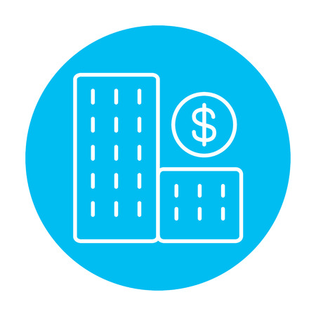 condominium: Condominium with dollar symbol line icon for web, mobile and infographics. Vector white icon on the light blue circle isolated on white background.