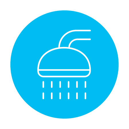 웹, 모바일 및 infographics에 대 한 샤워 선 아이콘입니다. 흰색 배경에 고립 된 빛 파란색 원 안에 벡터 흰색 아이콘. 일러스트