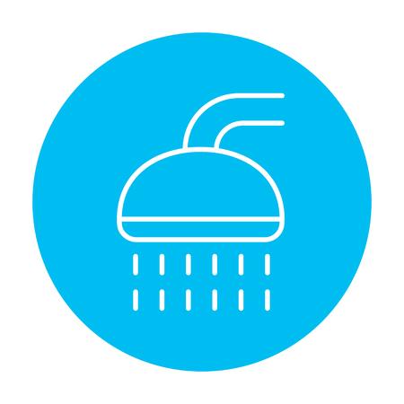 Web、モバイル、インフォ グラフィックのシャワー ライン アイコン。白い背景に分離された光の青い円の上の白いベクトルのアイコン。