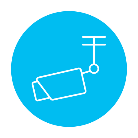 Outdoor surveillance camera line icon for web, mobile and infographics. Vector white icon on the light blue circle isolated on white background.