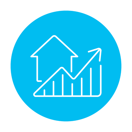 rating: Graph of real estate prices growth line icon for web, mobile and infographics. Vector white icon on the light blue circle isolated on white background. Illustration
