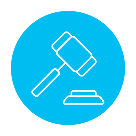 auction gavel: Auction gavel line icon for web, mobile and infographics. Vector white icon on the light blue circle isolated on white background.