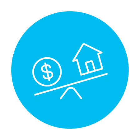 weigher: House and dollar symbol on scales line icon for web, mobile and infographics. Vector white icon on the light blue circle isolated on white background. Illustration
