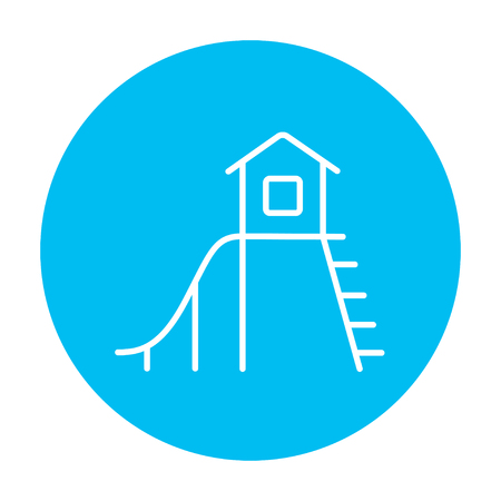 playhouse: Playhouse with slide line icon for web, mobile and infographics. Vector white icon on the light blue circle isolated on white background.