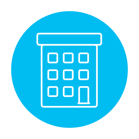 dormitory: Condominium building line icon for web, mobile and infographics. Vector white icon on the light blue circle isolated on white background. Illustration