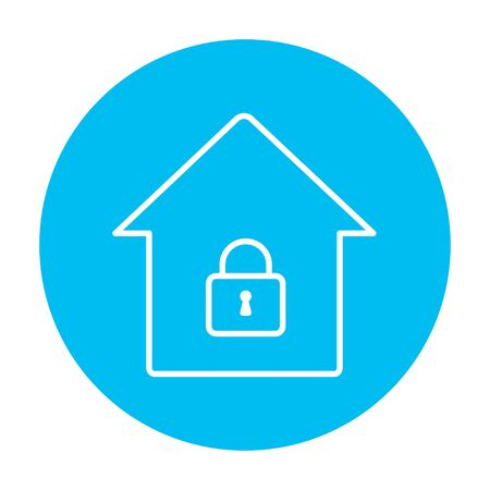 design objects: House with a closed lock line icon for web, mobile and infographics. Vector white icon on the light blue circle isolated on white background.