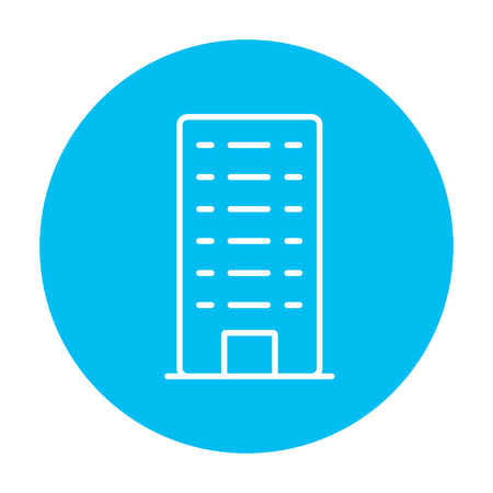 multi storey: Residential building line icon for web, mobile and infographics. Vector white icon on the light blue circle isolated on white background. Illustration