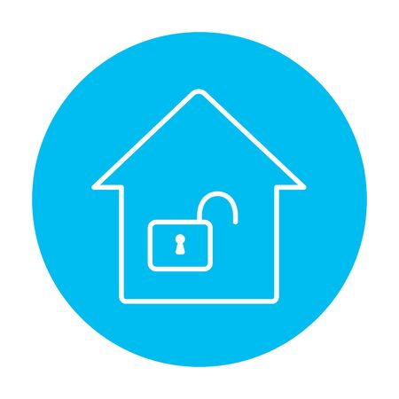 safeness: House with an open lock line icon for web, mobile and infographics. Vector white icon on the light blue circle isolated on white background.