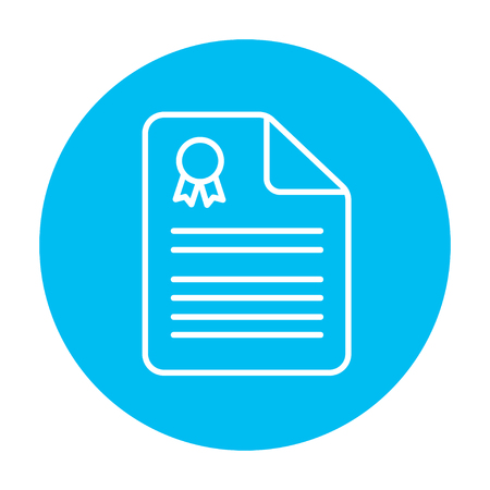Real estate contract line icon for web, mobile and infographics. Vector white icon on the light blue circle isolated on white background.