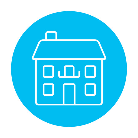 Two storey detached house line icon for web, mobile and infographics. Vector white icon on the light blue circle isolated on white background.