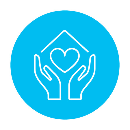 hands holding house: Hands holding house symbol with heart shape line icon for web, mobile and infographics. Vector white icon on the light blue circle isolated on white background. Illustration