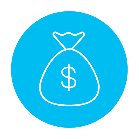 dollar symbol: Bag with dollar symbol line icon for web, mobile and infographics. Vector white icon on the light blue circle isolated on white background. Illustration