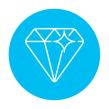 Diamond line icon for web, mobile and infographics. Vector white icon on the light blue circle isolated on white background. Ilustrace