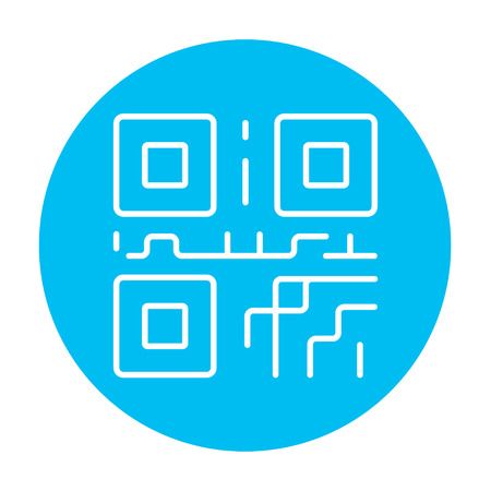 quick response: QR code line icon for web, mobile and infographics. Vector white icon on the light blue circle isolated on white background.