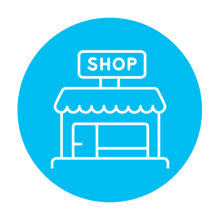 awnings: Shop line icon for web, mobile and infographics. Vector white icon on the light blue circle isolated on white background. Illustration