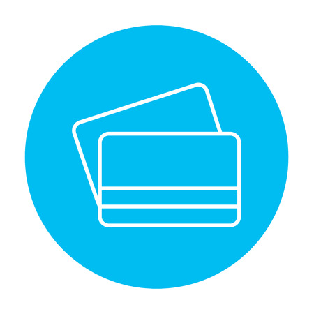 technology transaction: Credit cards line icon for web, mobile and infographics. Vector white icon on the light blue circle isolated on white background.