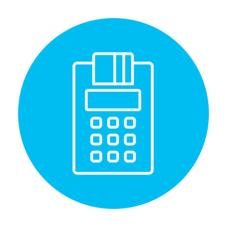 Cash register line icon for web, mobile and infographics. Vector white icon on the light blue circle isolated on white background.