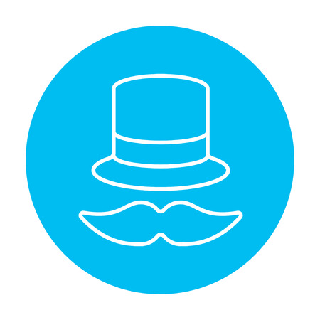 vintage design: Hat and mustache line icon for web, mobile and infographics. Vector white icon on the light blue circle isolated on white background.