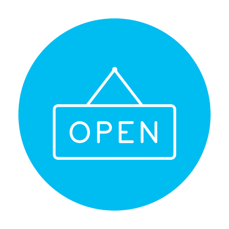 design objects: Open sign line icon for web, mobile and infographics. Vector white icon on the light blue circle isolated on white background.