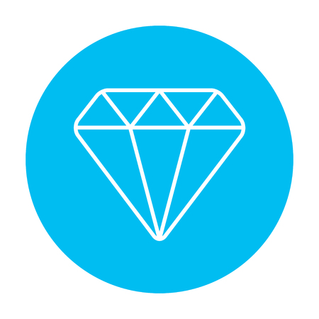 Diamond line icon for web, mobile and infographics. Vector white icon on the light blue circle isolated on white background. 向量圖像