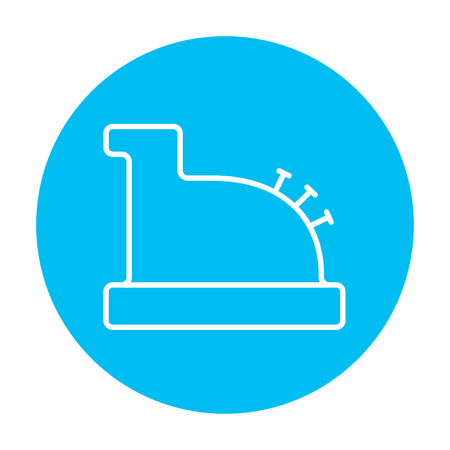 checkout line: Cash register machine line icon for web, mobile and infographics. Vector white icon on the light blue circle isolated on white background. Illustration