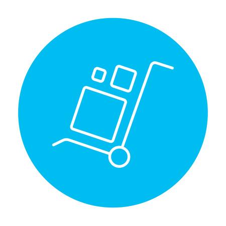 Carretilla de las compras con el icono de la manipulación cajas línea para web, móvil y la infografía. Vector icono blanco sobre el círculo azul de luz aislados sobre fondo blanco.