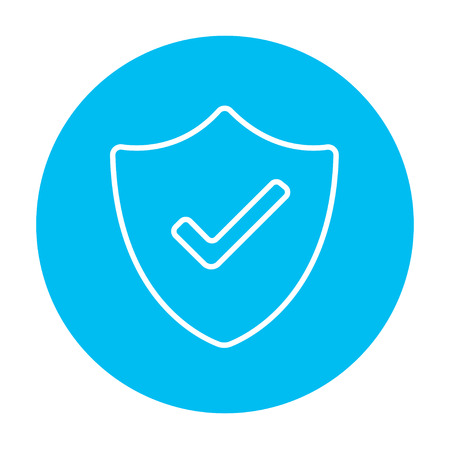 confirmed: Quality is confirmed sign line icon for web, mobile and infographics. Vector white icon on the light blue circle isolated on white background.