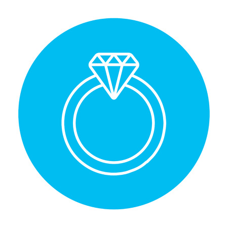 adamant: Diamond ring line icon for web, mobile and infographics. Vector white icon on the light blue circle isolated on white background. Illustration