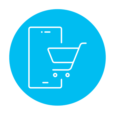 technology transaction: Mobile phone with shopping cart on a screen line icon for web, mobile and infographics. Vector white icon on the light blue circle isolated on white background.
