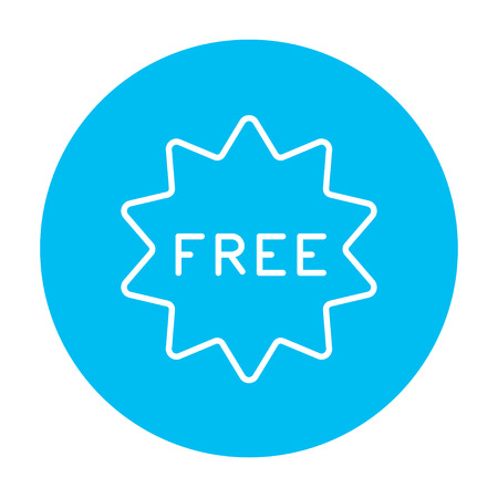 freebie: Free tag line icon for web, mobile and infographics. Vector white icon on the light blue circle isolated on white background.