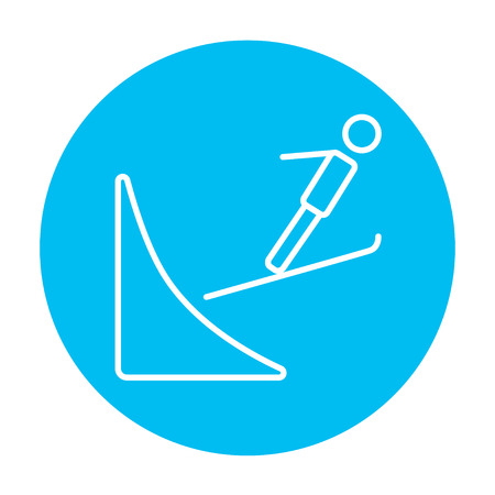 springboard: Ski jumping line icon for web, mobile and infographics. Vector white icon on the light blue circle isolated on white background.