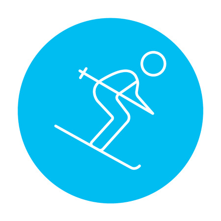 downhill skiing: Downhill skiing line icon for web, mobile and infographics. Vector white icon on the light blue circle isolated on white background. Illustration