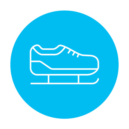 Skate line icon for web, mobile and infographics. Vector white icon on the light blue circle isolated on white background.