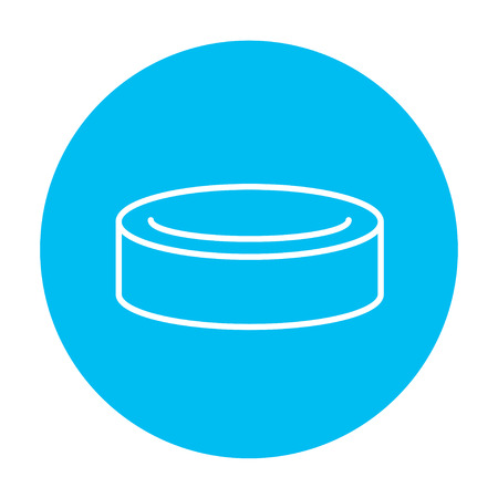 skating on thin ice: Hockey puck line icon for web, mobile and infographics. Vector white icon on the light blue circle isolated on white background.