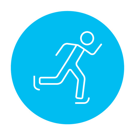 ice slide: Speed skating line icon for web, mobile and infographics. Vector white icon on the light blue circle isolated on white background.