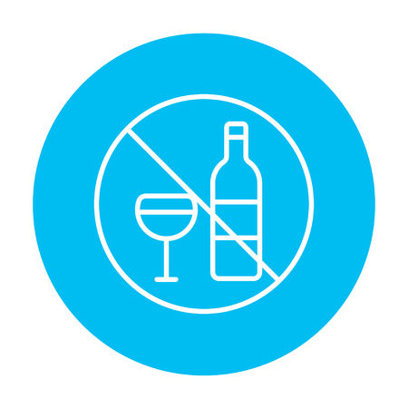 spirituous: No alcohol sign line icon for web, mobile and infographics. Vector white icon on the light blue circle isolated on white background.