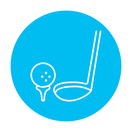 putter: Golf ball and putter line icon for web, mobile and infographics. Vector white icon on the light blue circle isolated on white background.