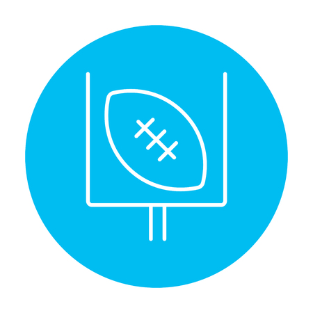 Gate and ball for rugby line icon for web, mobile and infographics. Vector white icon on the light blue circle isolated on white background. Illustration