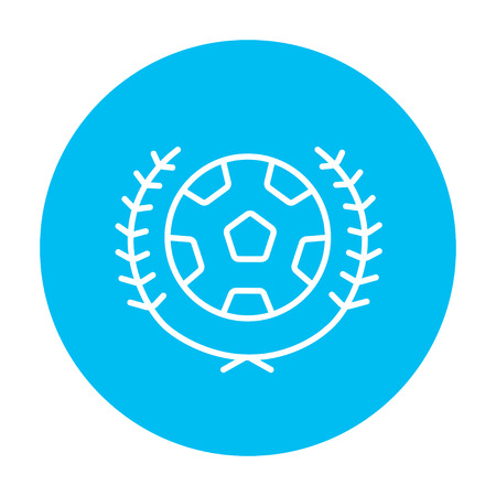 logo: Soccer badge line icon for web, mobile and infographics. Vector white icon on the light blue circle isolated on white background. Illustration