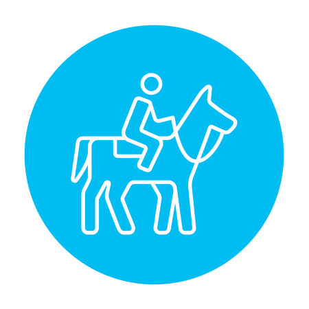 stirrup: Horse riding line icon for web, mobile and infographics. Vector white icon on the light blue circle isolated on white background.
