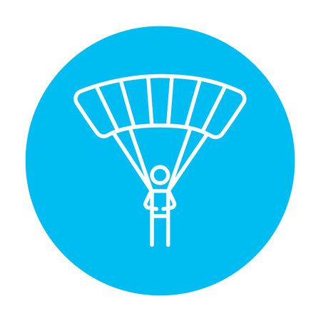 airplay: Skydiving line icon for web, mobile and infographics. Vector white icon on the light blue circle isolated on white background.