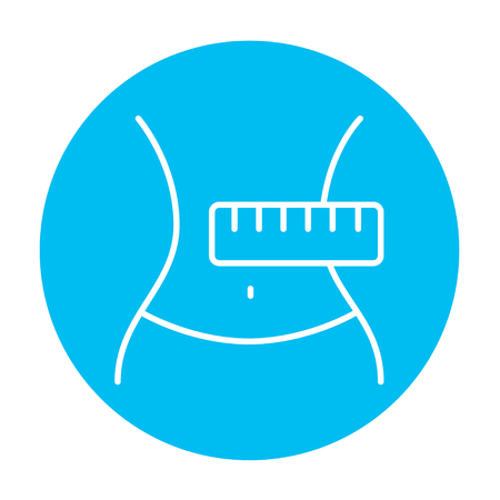 Waist with measuring tape line icon for web, mobile and infographics. Vector white icon on the light blue circle isolated on white background. 向量圖像