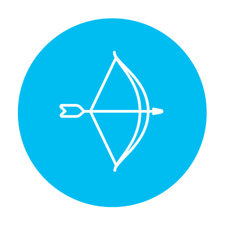 blue bow: Bow and arrow line icon for web, mobile and infographics. Vector white icon on the light blue circle isolated on white background.