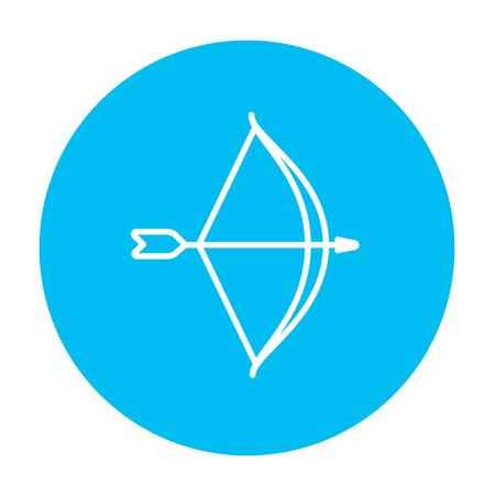 arco y flecha: El arco y la flecha icono de línea para web, móvil y la infografía. Vector icono blanco sobre el círculo azul de luz aislados sobre fondo blanco.