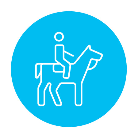 Horse riding line icon for web, mobile and infographics. Vector white icon on the light blue circle isolated on white background.