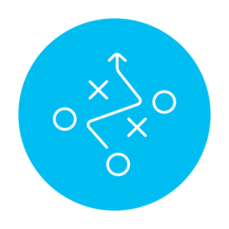 tactics: Tactical plan line icon for web, mobile and infographics. Vector white icon on the light blue circle isolated on white background. Illustration