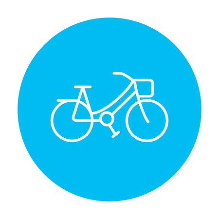 line design: Bicycle line icon for web, mobile and infographics. Vector white icon on the light blue circle isolated on white background.